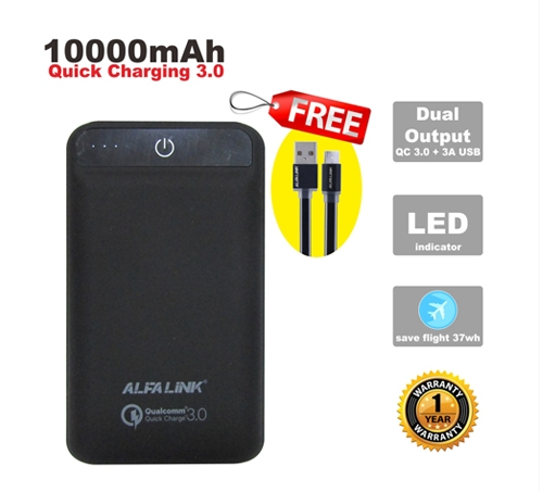 ALFA LINK POWER BANK 10000RQC BLACK