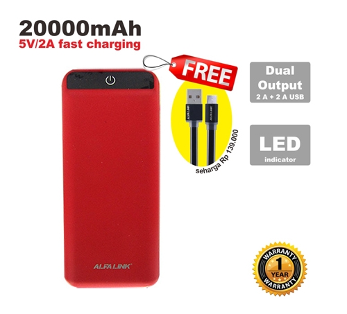 ALFA LINK Power bank 20000RC RED